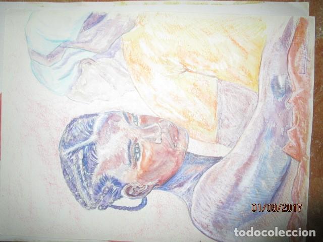 Arte: dibujo al pastel firmada mujeres africanas pintura en papel rugoso - Foto 7 - 201837146