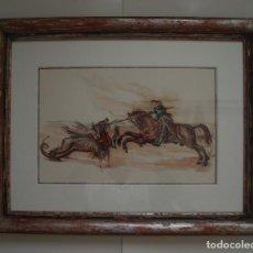 Arte: SAN JORGE LUCHANDO CONTRA EL DRAGÓN. ACUARELA SOBRE PAPEL. PINTOR JOSÉ CLAROS. MURCIA. AÑO 1992.. Lote 202812673