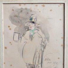 Arte: INTERESANTE Y CURIOSO RETRATO CÓMICO DE UN HOMBRE BEBIENDO, FIRMADO A.D.1924, CALIDAD. Lote 202970426