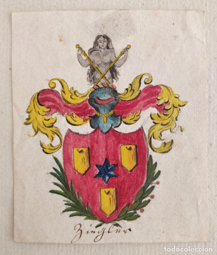 MARAVILLOSO ESCUDO DE ARMAS, ACUARELA ORIGINAL DE FINALES DEL SIGLO XVIII (Arte - Acuarelas - Antiguas hasta el siglo XVIII)