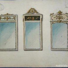 Arte: ACUARELA ORIGINAL. TRES ESPEJOS. PLANELLS, QUERALTÓ Y CIA. BARCELONA. CIRCA 1920.. Lote 202987851