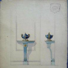 Arte: ACUARELA ORIGINAL. MÉNSULA. BASTÚS, QUERALTÓ Y CIA. BARCELONA. CIRCA 1920.. Lote 202988190