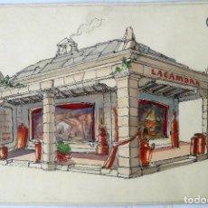 Arte: ACUARELA ORIGINAL. BOCETO PABELLÓN LACAMBRA. BASTÚS, QUERALTÓ Y CIA. BARCELONA. CIRCA 1940.. Lote 203080000