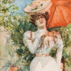 Arte: JOSÉ ECHENAGUSIA (GUIPUZCOA 1844-1812) LA DAMA DEL QUITASOL ROJO - ACUARELA SOBRE PAPEL - 31*21CM. Lote 203236303