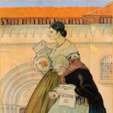 Arte: MACHIN. ESCUELA ESPAÑOLA, C. 1917 - CATILLA LA NUEVA Y CASTILLA LA VIEJA - GOUACHE/PAPEL - 57*43CM. Lote 203242951