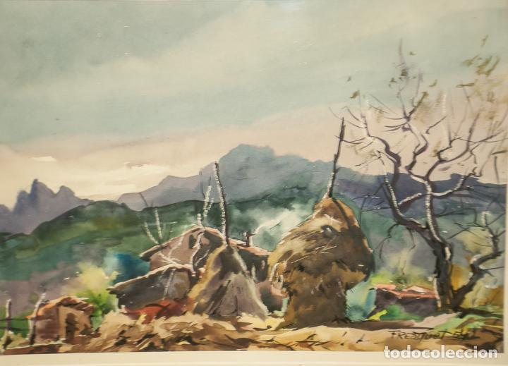 BONITA ACUARELA, PAISAJE RURAL FIRMADO G. FRESQUET 1954 (Arte - Acuarelas - Contemporáneas siglo XX)
