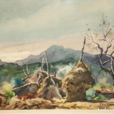 Arte: BONITA ACUARELA, PAISAJE RURAL FIRMADO G. FRESQUET 1954. Lote 203863268