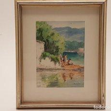 Arte: PERE MATA GAVANYACH, (1898-1970), BANYOLES, ACUARELA SOBRE PAPEL, (22X16). Lote 204163985