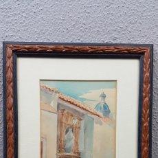 Arte: ACUARELA DE LA FUENTE DE SANTA MARIA. ALICANTE. POR ADRIÁN DE ALMOGUERA. FECHADO 1 ENERO 1952. Lote 204218923