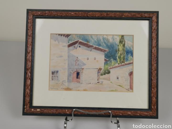 Arte: Acuarela firmado Adrián de Almoguera. Tema Paisaje de Apricano (Vitoria - Álava) Año 1951. - Foto 2 - 204420132