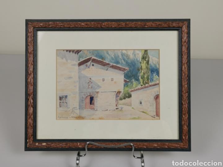 Arte: Acuarela firmado Adrián de Almoguera. Tema Paisaje de Apricano (Vitoria - Álava) Año 1951. - Foto 3 - 204420132
