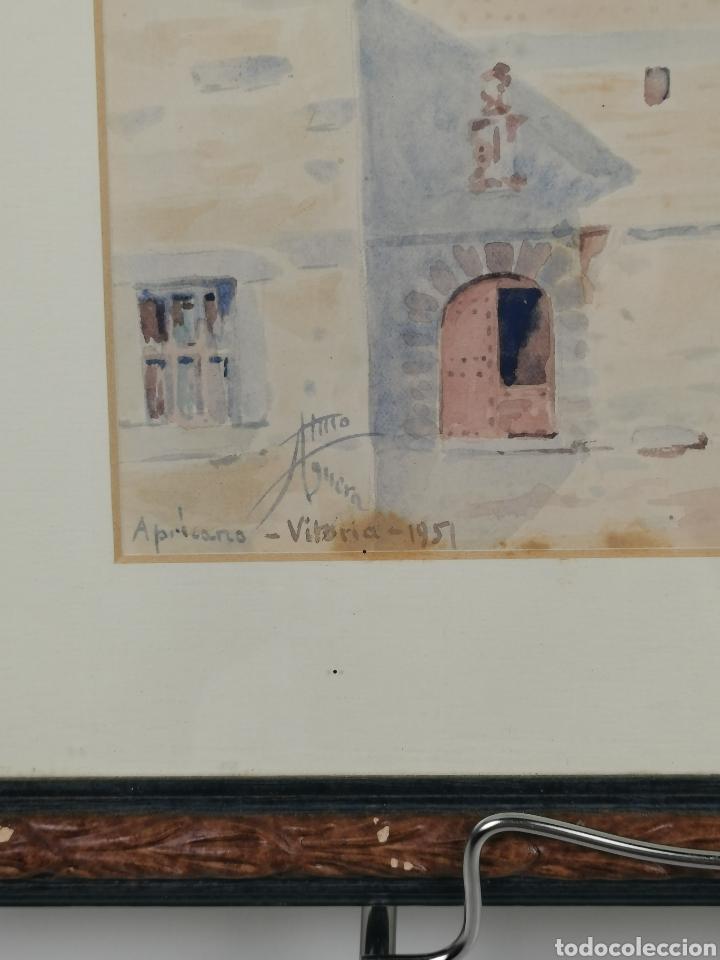 Arte: Acuarela firmado Adrián de Almoguera. Tema Paisaje de Apricano (Vitoria - Álava) Año 1951. - Foto 4 - 204420132