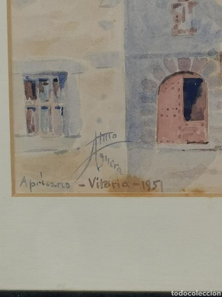 Arte: Acuarela firmado Adrián de Almoguera. Tema Paisaje de Apricano (Vitoria - Álava) Año 1951. - Foto 5 - 204420132