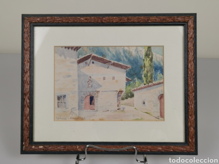 ACUARELA FIRMADO ADRIÁN DE ALMOGUERA. TEMA PAISAJE DE APRICANO (VITORIA - ÁLAVA) AÑO 1951. (Arte - Acuarelas - Contemporáneas siglo XX)