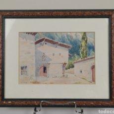 Arte: ACUARELA FIRMADO ADRIÁN DE ALMOGUERA. TEMA PAISAJE DE APRICANO (VITORIA - ÁLAVA) AÑO 1951.. Lote 204420132