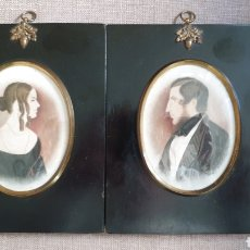 Arte: RETRATOS EN MINIATURA DE MATRIMONIO. 1840. ESCUELA NORTE DE EUROPA.. Lote 204656752