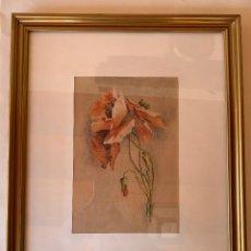 Arte: BONITA ACUARELA . FLORES . FIRMA . PEGATINA POSTERIOR COMO , ITALIA .. Lote 204834743