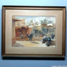 Art: ANTIGUA ACUARELA ORIENTALISTA/ FIRMADA R.J.H. / 50,5CM X 40,5CM / MARRUECOS AFRICA. Lote 204980965