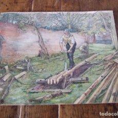 Arte: WILLIAM HENRY - ACUARELA COSTUMBRISTA INGLESA SOBRE CARTON - UN ASERRADERO. Lote 205177401