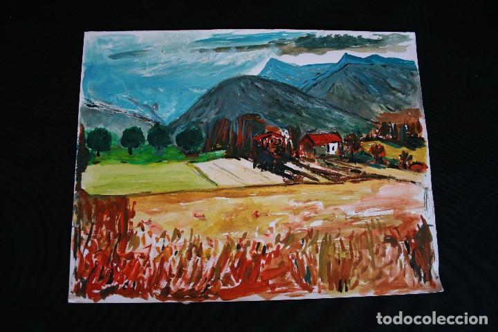 BONITA ACUARELA, PAISAJE, CIRCULO DE JOAN ABELLÓ (Arte - Acuarelas - Contemporáneas siglo XX)