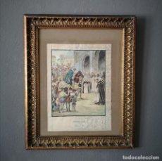 Art: ACUARELA ESCENA HISTORICA SAN FRANCISCO DE BORJA ESTUDIO PARA TAPIZ EN EL PALCIO DUCAL DE GANDIA. Lote 205437351
