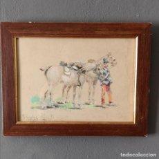 Art: AQUARELA Y TINTA SOBRE CARTON JOSEPH CUSACHS (1851-1908) MONTPELIER 1890 SOLDADO CON CABALLOS. Lote 205442927