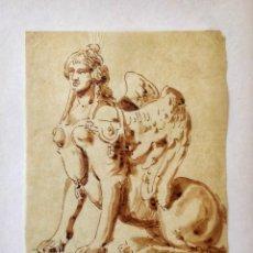 Arte: ACUARELA ORIGINAL SOBRE PAPEL GLASSINE DE ADOLF MARATSCHEK, CON SELLO DEL PINTOR, FECHADO 1880. Lote 205444163