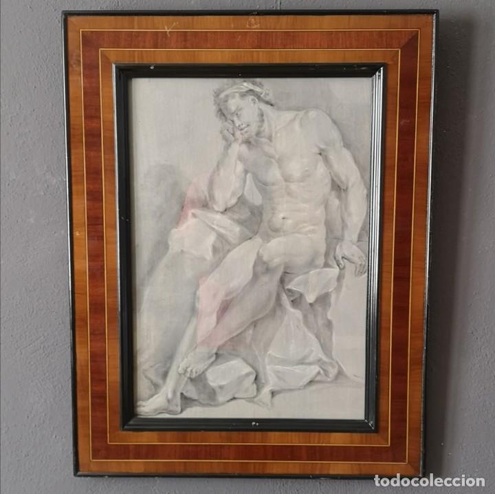 ANTIGUO DESNUDO NEOCLASICO AGUADA DE TINTA Y PASTEL ENMARCADO ITALIA FINALES S XVIII (Arte - Acuarelas - Antiguas hasta el siglo XVIII)