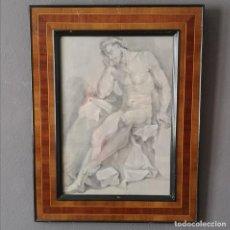 Arte: ANTIGUO DESNUDO NEOCLASICO AGUADA DE TINTA Y PASTEL ENMARCADO ITALIA FINALES S XVIII. Lote 205445725