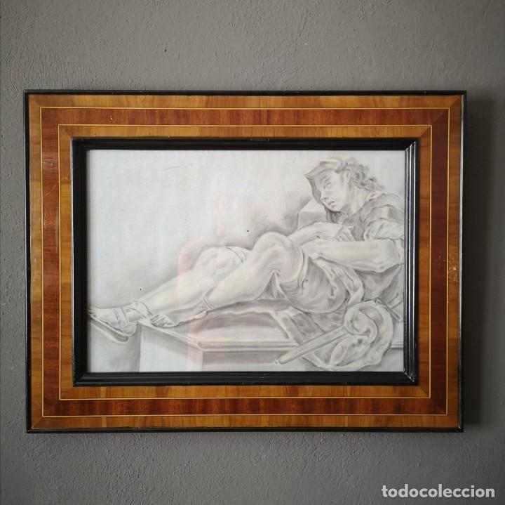 ANTIGUO DIBUJO NEOCLASICO AGUADA DE TINTA Y PASTEL ENMARCADO ITALIA FINALES S XVIII (Arte - Acuarelas - Antiguas hasta el siglo XVIII)