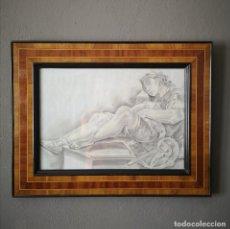Art: ANTIGUO DIBUJO NEOCLASICO AGUADA DE TINTA Y PASTEL ENMARCADO ITALIA FINALES S XVIII. Lote 205445960