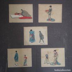 Art: CONJUNTO DE 5 ACUARELAS ORIGINALES ESCENAS DE PERSONAJES CHINOS S XIX. Lote 205452948