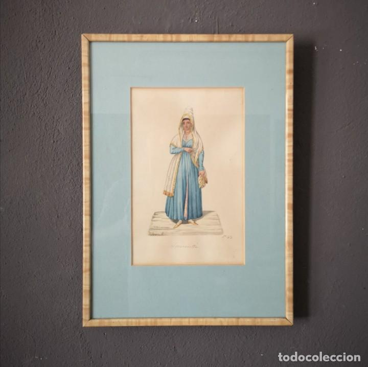 ANTIGUA ACUARELA ORIGINAL FIRMADO V. FENECH FENECH TITULADO SMIRNIOTTA Nº43 FINALES S XVIII (Arte - Acuarelas - Antiguas hasta el siglo XVIII)