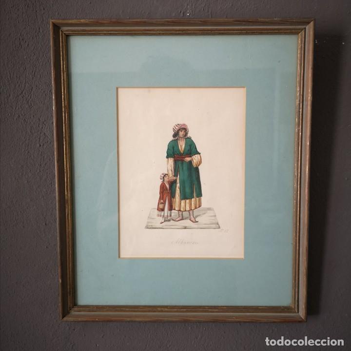 ANTIGUA ACUARELA ORIGINAL FIRMADO V. FENECH TITULADO ALBANESE Nº12 FINALES S XVIII (Arte - Acuarelas - Antiguas hasta el siglo XVIII)