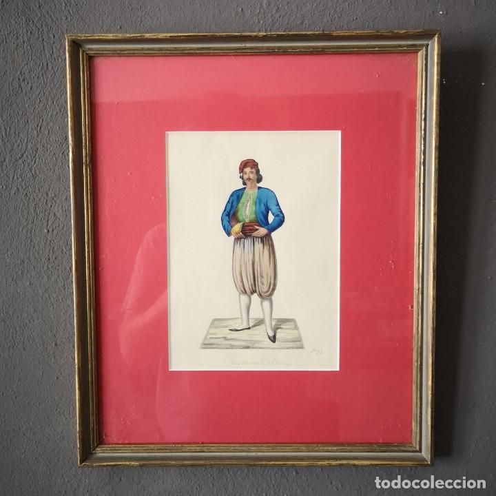 ANTIGUA ACUARELA ORIGINAL FIRMADO V. FENECH TITULADO COSTUME D´ITALIA Nº33 FINALES S XVIII (Arte - Acuarelas - Antiguas hasta el siglo XVIII)