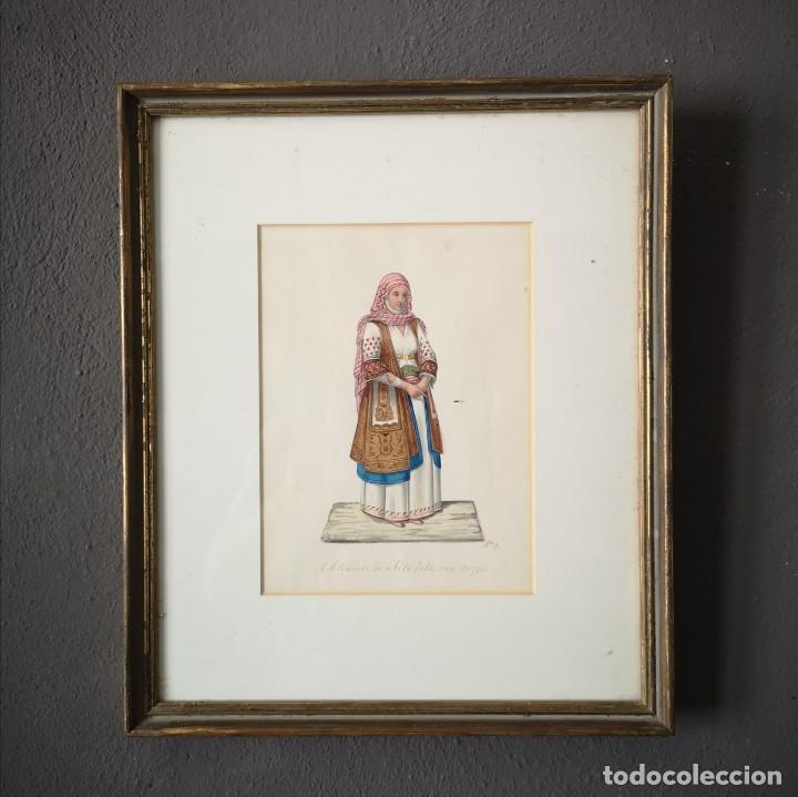 ANTIGUA ACUARELA ORIGINAL FIRMADO V. FENECH TITULADO ATENIENSE IN ABITO Nº2 FINALES S XVIII (Arte - Acuarelas - Antiguas hasta el siglo XVIII)