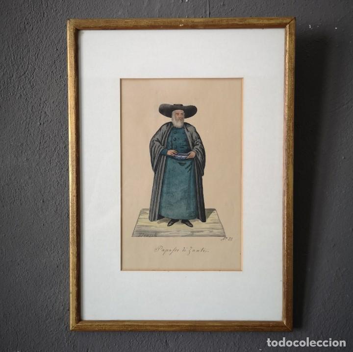 ANTIGUA ACUARELA ORIGINAL FIRMADO V. FENECH TITULADO PAPAFIO DI ZANTE Nº22 FINALES S XVIII (Arte - Acuarelas - Antiguas hasta el siglo XVIII)