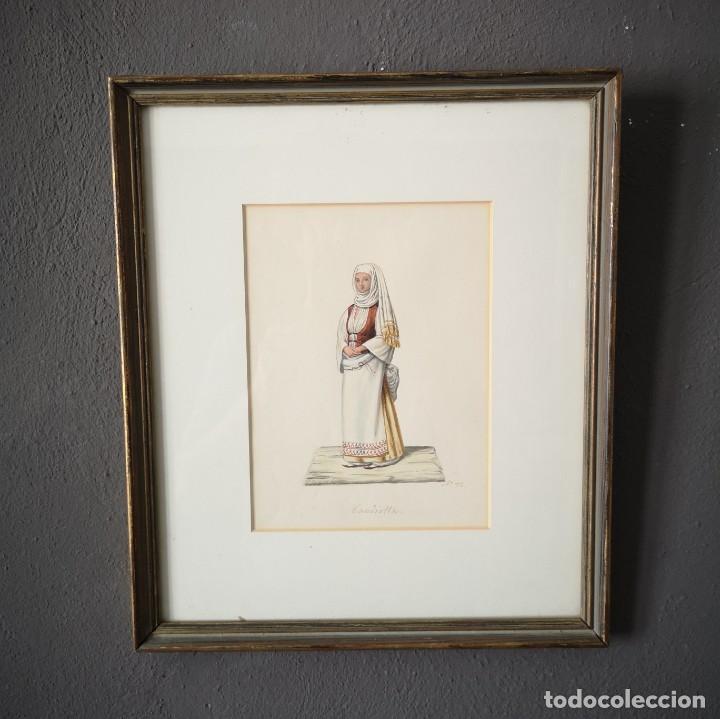 ANTIGUA ACUARELA ORIGINAL FIRMADO V. FENECH TITULADO BANDIOTTA Nº32 FINALES S XVIII (Arte - Acuarelas - Antiguas hasta el siglo XVIII)