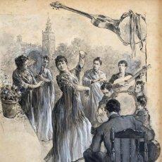 Arte: NICANOR VÁZQUEZ (1861-1930) FIESTA POPULAR EN SEVILLA. Lote 205527503