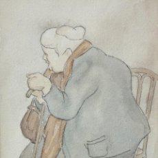 Arte: AUTORIA DESCONOCIDA. ACUARELA SOBRE PAPEL FECHADA DEL AÑO 1928. DOÑA ANTONIA. Lote 205529650