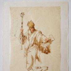Arte: ACUARELA ORIGINAL SOBRE PAPEL GLASSINE DE ADOLF MARATSCHEK, CON SELLO DEL PINTOR, CIRCA 1880 EL PAPA. Lote 205648876