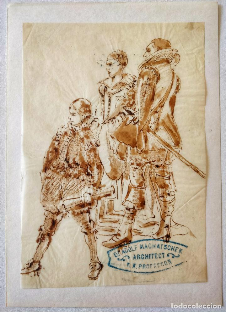 ACUARELA ORIGINAL SOBRE PAPEL GLASSINE DE ADOLF MARATSCHEK, CON SELLO DEL PINTOR, CIRCA 1880 (Arte - Acuarelas - Modernas siglo XIX)