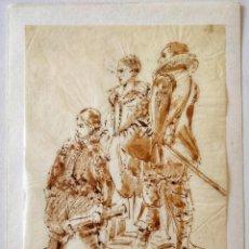 Arte: ACUARELA ORIGINAL SOBRE PAPEL GLASSINE DE ADOLF MARATSCHEK, CON SELLO DEL PINTOR, CIRCA 1880. Lote 205649541