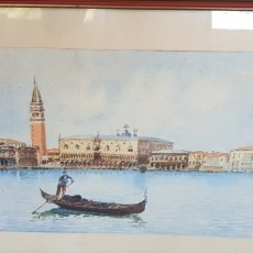 Arte: A BIONDETTI GONDOLA VENECIA ACUARELA 1851-1946. Lote 205705365