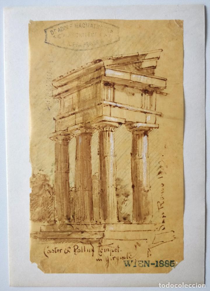 ACUARELA ORIGINAL SOBRE PAPEL GLASSINE DE ADOLF MARATSCHEK, CON SELLO DEL PINTOR, FECHADO 1885 (Arte - Acuarelas - Modernas siglo XIX)