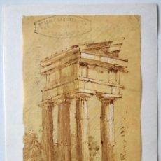 Arte: ACUARELA ORIGINAL SOBRE PAPEL GLASSINE DE ADOLF MARATSCHEK, CON SELLO DEL PINTOR, FECHADO 1885. Lote 205766522