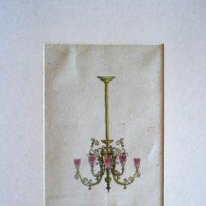 Arte: BARCELONA.ACUARELA DISEÑO LAMPARA MODERNISTA 31X21,5CM. CLAUDIO CASTELUCHO DIANA. Lote 205793412