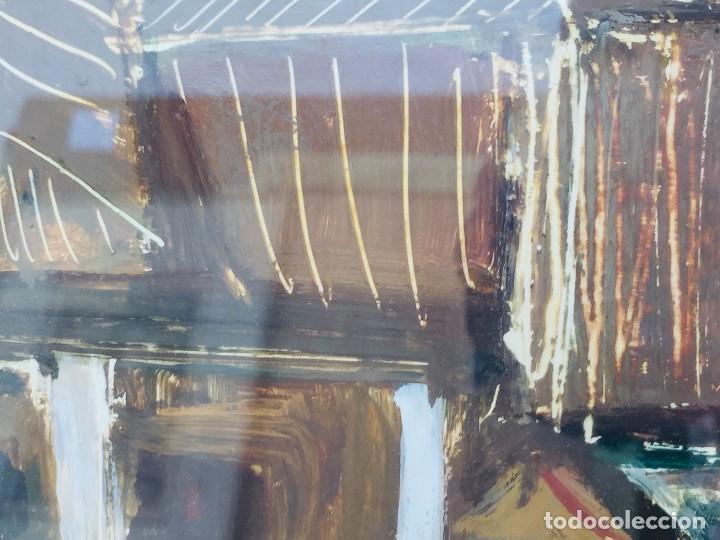 Arte: amparo fernandez gouache sobre papel y esgrafiado tejados balcones casas años 60 55x68cms - Foto 6 - 205814926