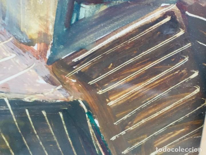 Arte: amparo fernandez gouache sobre papel y esgrafiado tejados balcones casas años 60 55x68cms - Foto 7 - 205814926