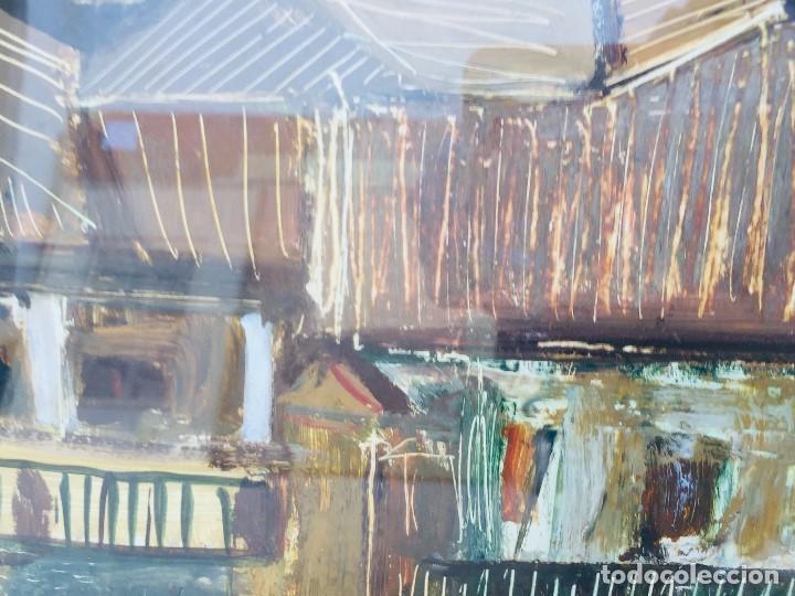 Arte: amparo fernandez gouache sobre papel y esgrafiado tejados balcones casas años 60 55x68cms - Foto 9 - 205814926